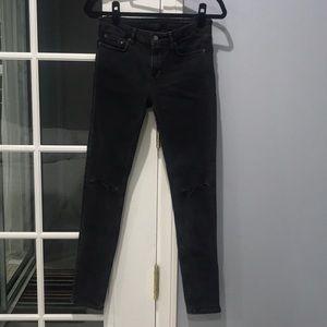 All Saints Mast Faded Black Jeans with Knee Slits